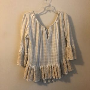 Anthropologie • TRYB beige lace ruffled top